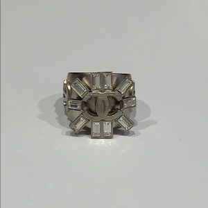 Genuine Chanel Crystal Statement Ring size 6.5